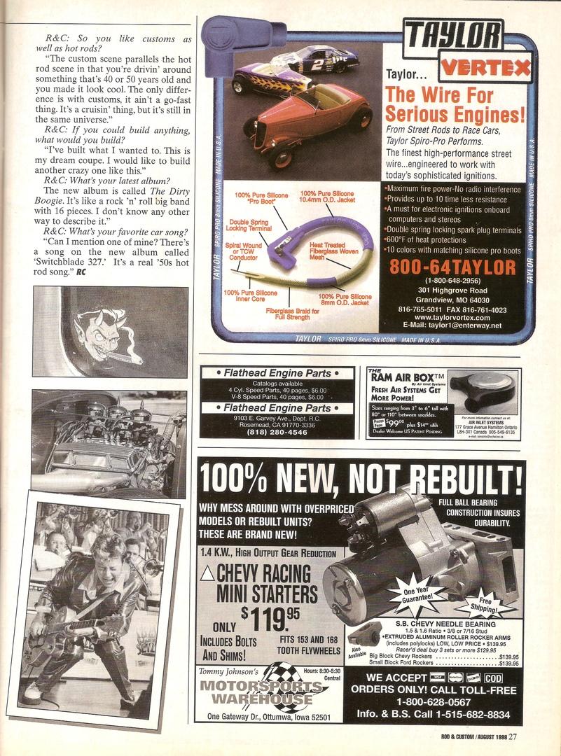 Скан журнала Rod & Custom за Август 1998-ого, третья страница статьи