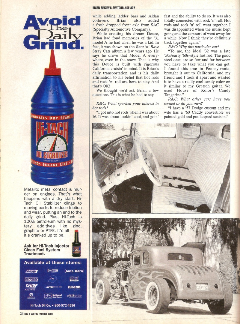 Скан журнала Rod & Custom за Август 1998-ого, вторая страница статьи