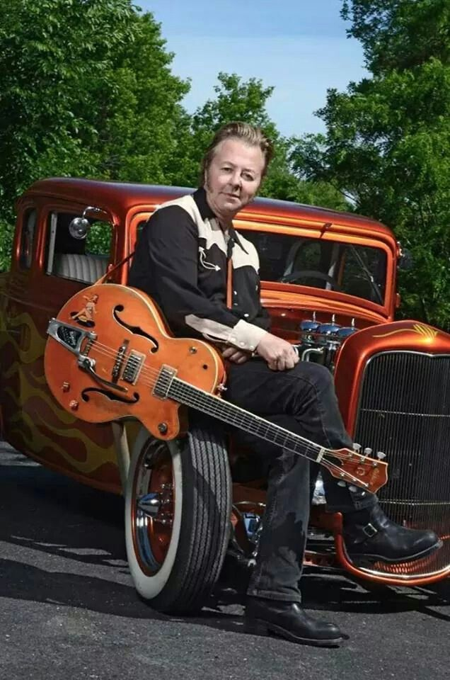 Brian Setzer with his Gretsch guitar and hot-rod