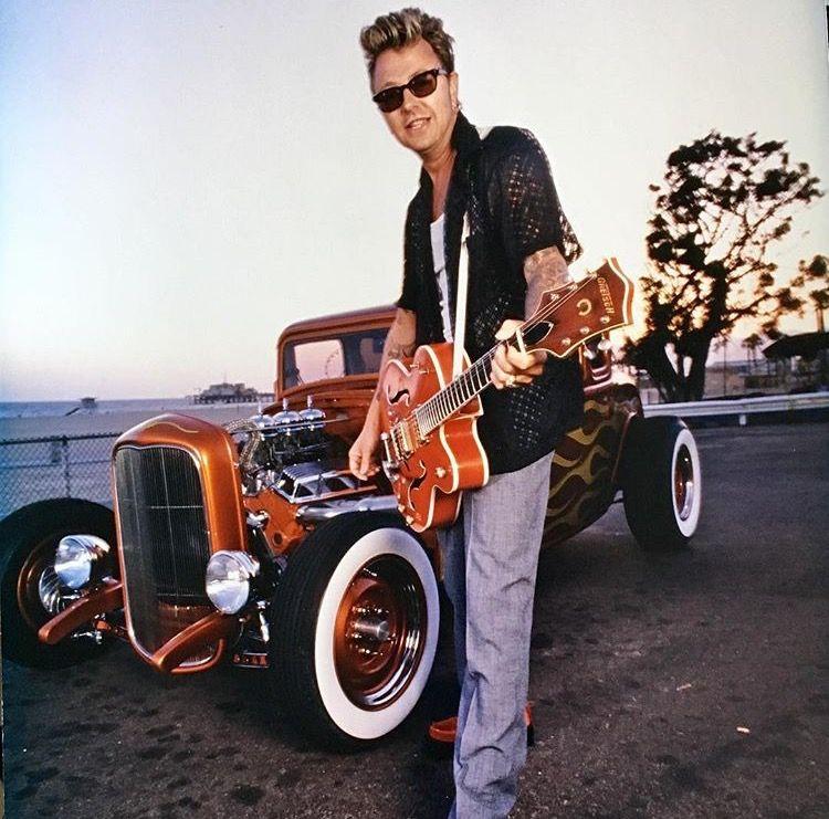Brian Setzer with guitar & Switchblade 327 photo