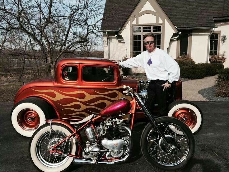 Brian Setzer with his bobber and a hot-rod Ford