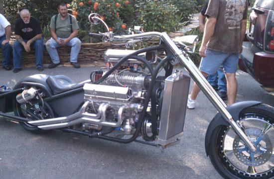 Custom drag chopper with blown V8 thumbnail photo