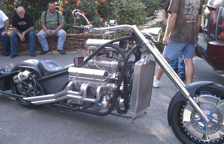 Custom drag chopper with blown V8 thumbnail photo