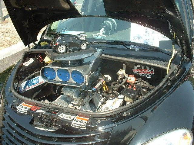 PT Cruiser with a V8 TAZ close-up on Chevy engine 2