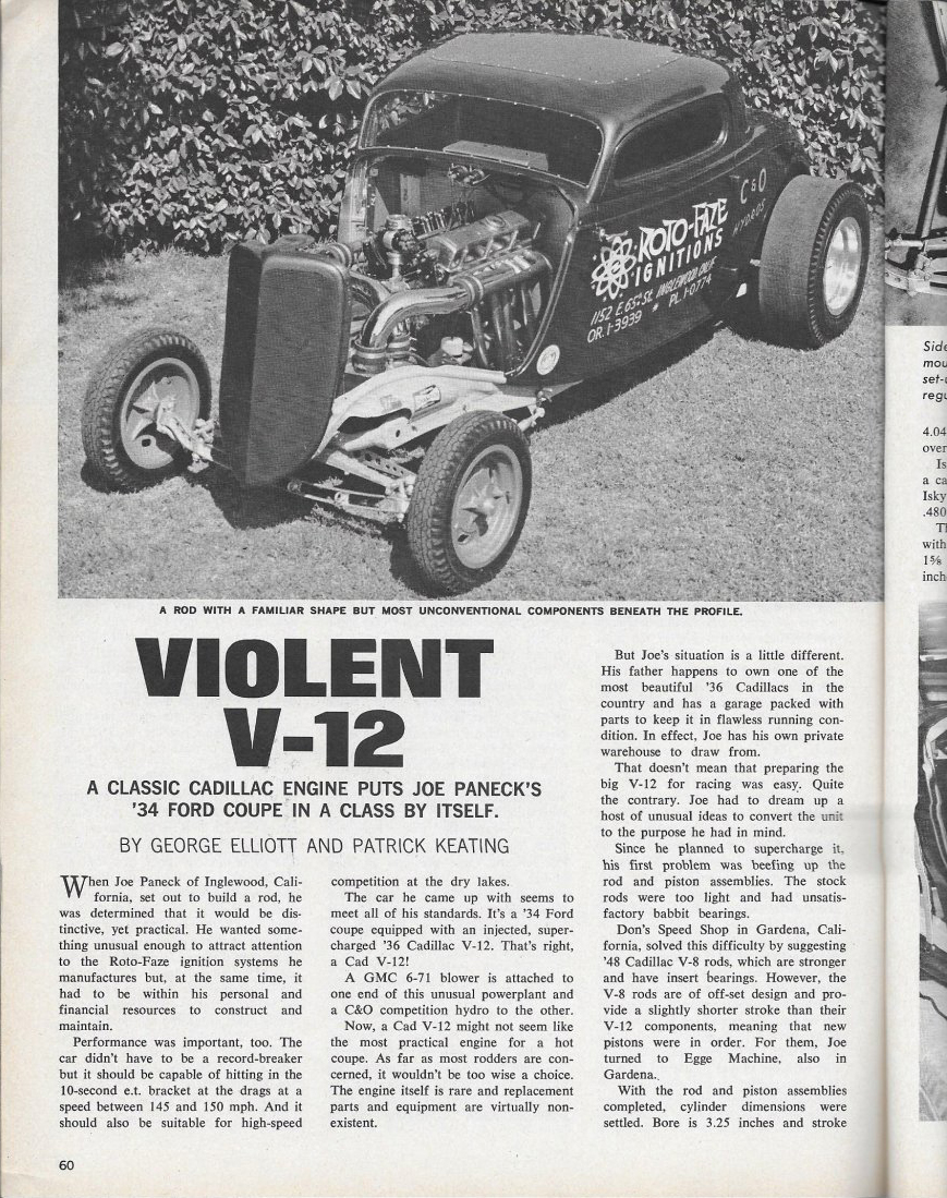 Caddy V12 powered Ford Popular Hot Rodding article page 60