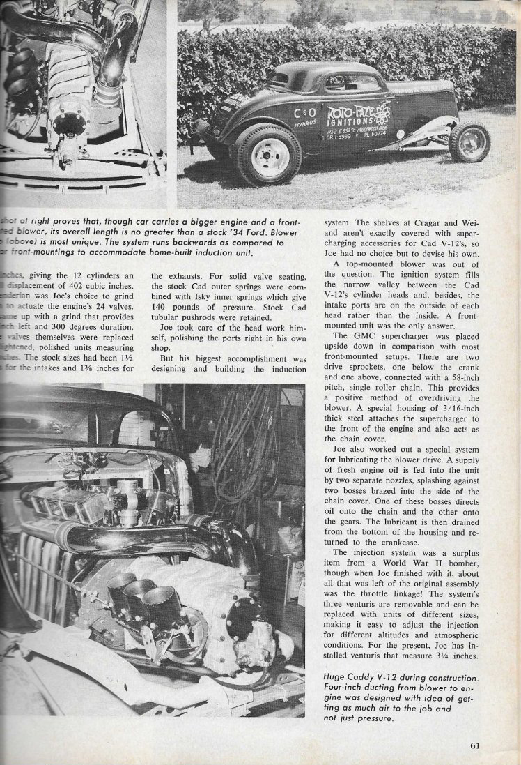 Caddy V12 powered Ford Popular Hot Rodding article page 61