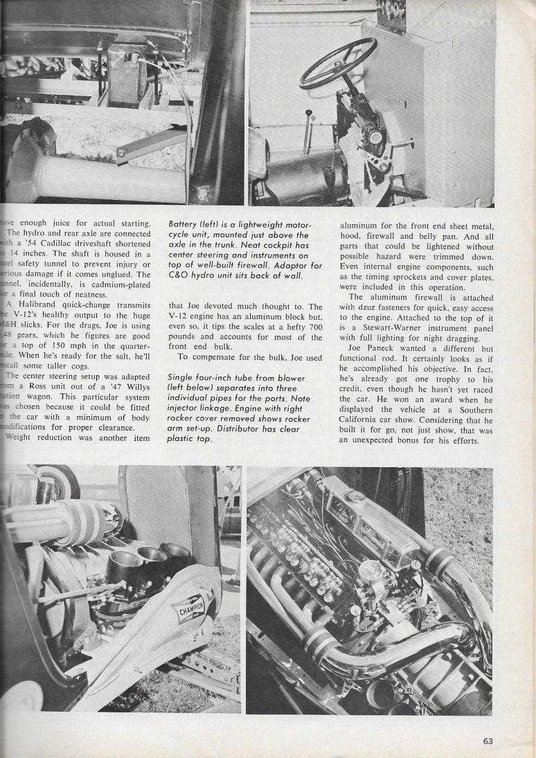 Caddy V12 powered Ford Popular Hot Rodding article page 63