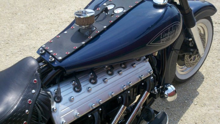 Custom motorcycle with Lincoln-Zephyr V12 09