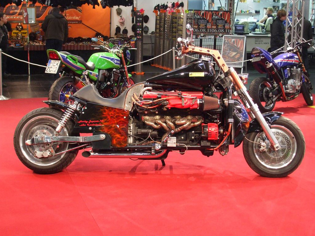 Aston Martine V12 powered custom chopper 01