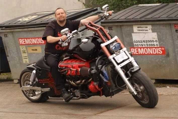 Aston Martine V12 powered custom chopper 04