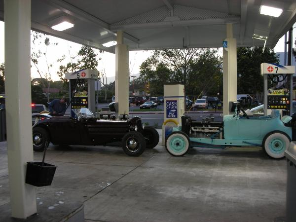 Dodge hot-rod with Cadillac V16 on a gas station