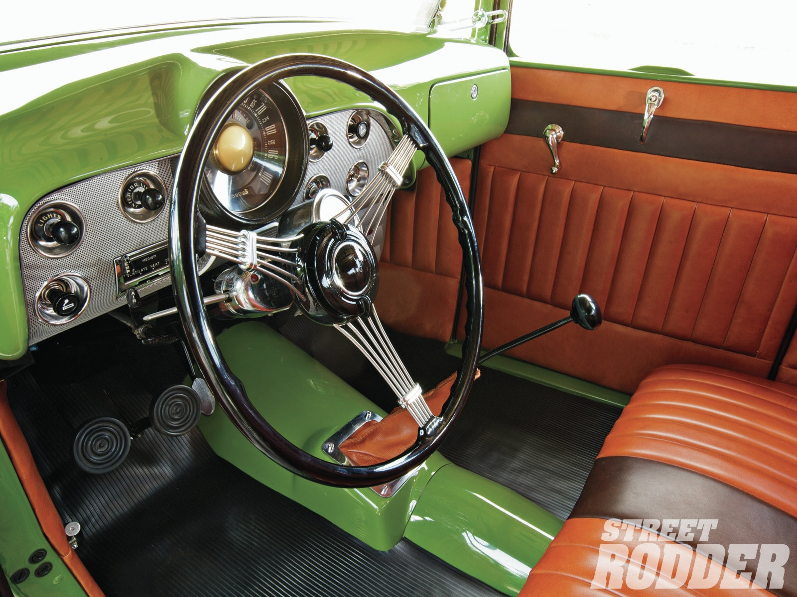 Dash photo of Gas Axe Garage Lincoln-Zephyr V12-powered Ford