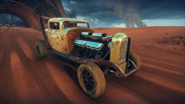 Elvis the GMC V12 hot-rod in the Mad Max video game, front quarter