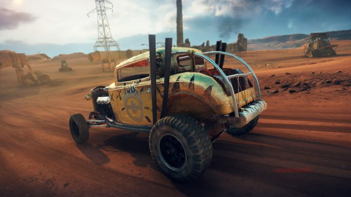 Elvis the GMC V12 hot-rod in the Mad Max video game, rear quarter