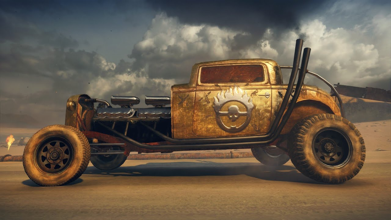 Elvis the GMC V12 hot-rod in the Mad Max video game, side