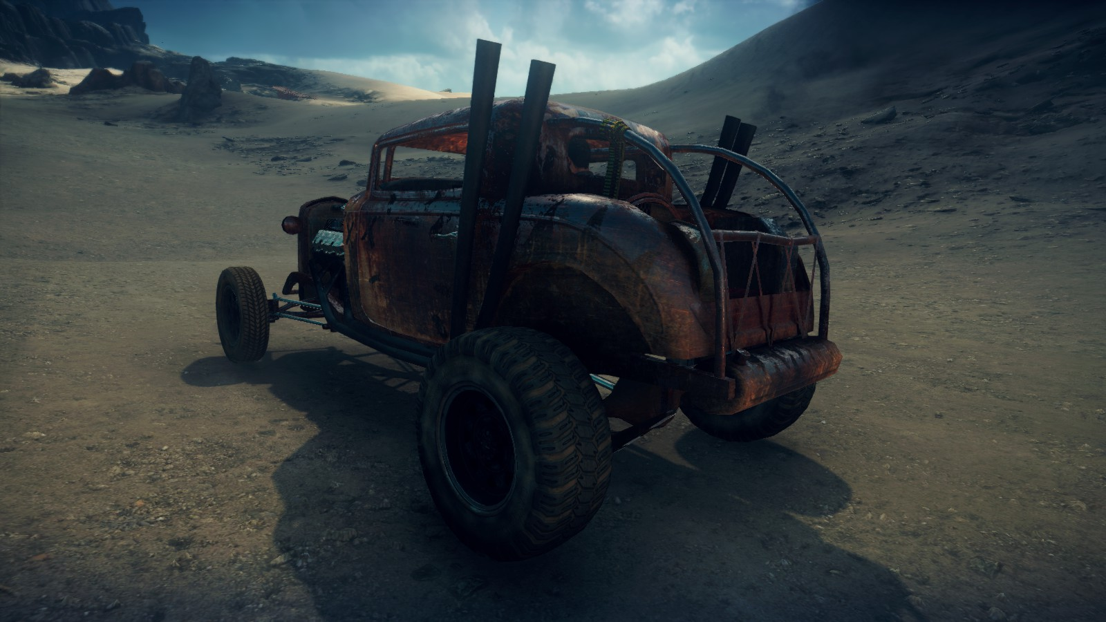 Elvis the GMC V12 hot-rod in Mad Max videogame, rusty version, rear quarter