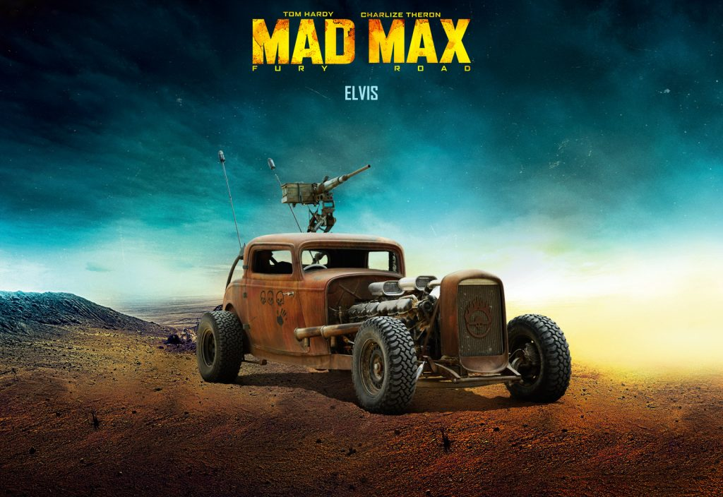 Elvis, GMC V12 hot rod, Mad Max: Fury Road, rat rod