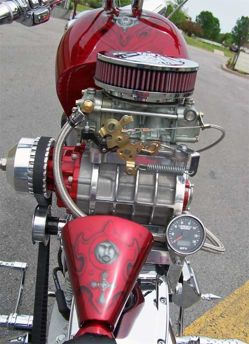 Unusually supercharged V-twin chopper, engine close-up, back side.