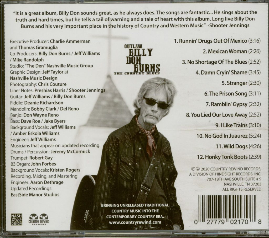 Billy Don Burns, The Country Blues, задник CD