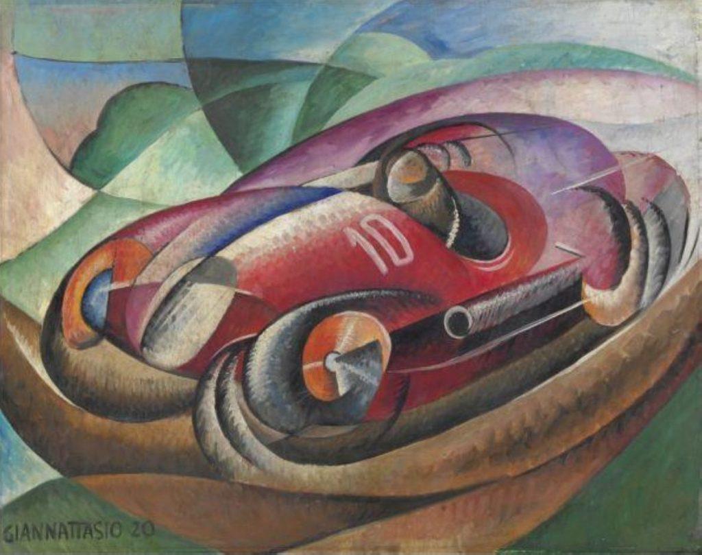 Неназванная картина 1920-ого года за авторством футуриста Уго Джанаттасио, изображающая гоночный автомобиль.
