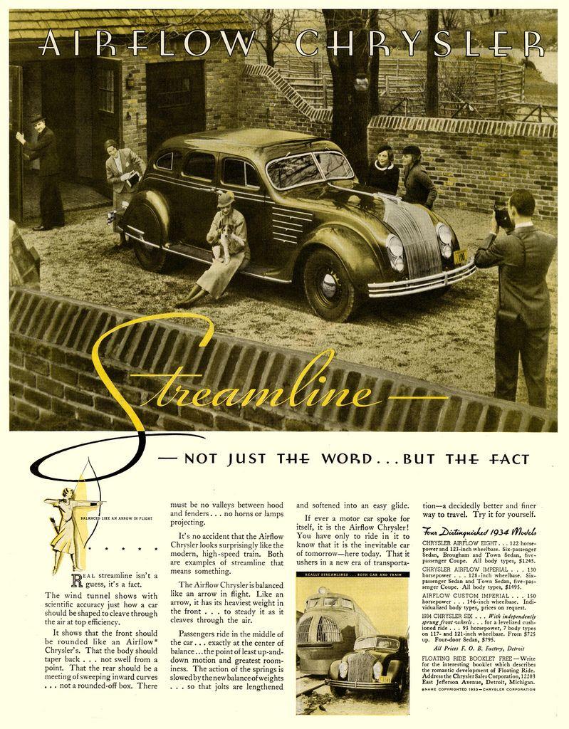 Печатная реклама автомобиля Chrysler Airflow со словом Streamline.