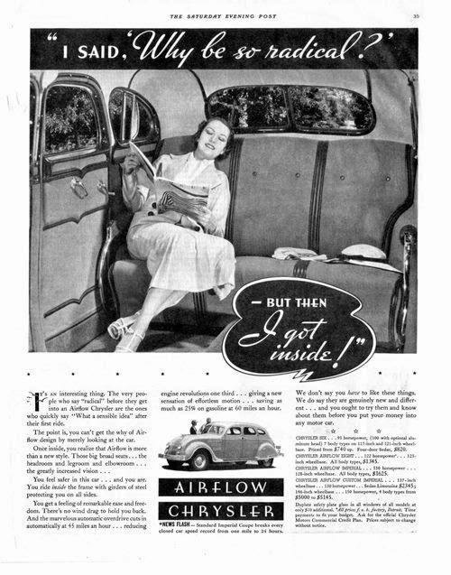 Печатная реклама интерьера автомобиля Chrysler Airflow.