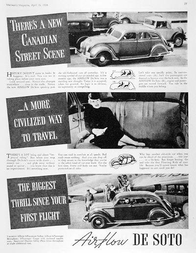 Печатная реклама автомобиля DeSoto Airflow в Канаде.