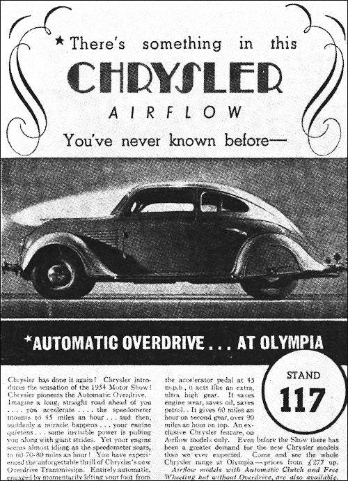 Печатная реклама автомобиля Chrysler Airflow в Британии.