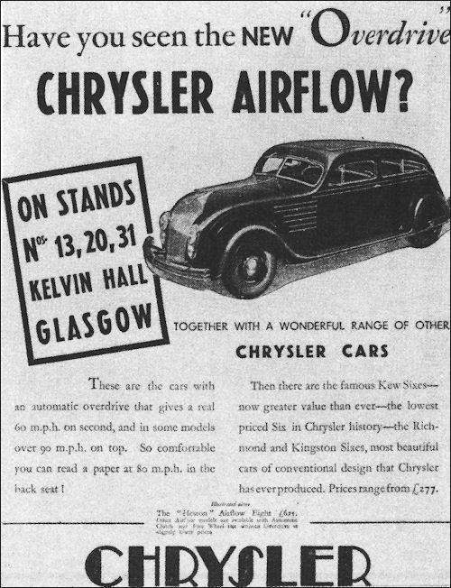 Печатная реклама автомобиля Chrysler Airflow в Шотландии.