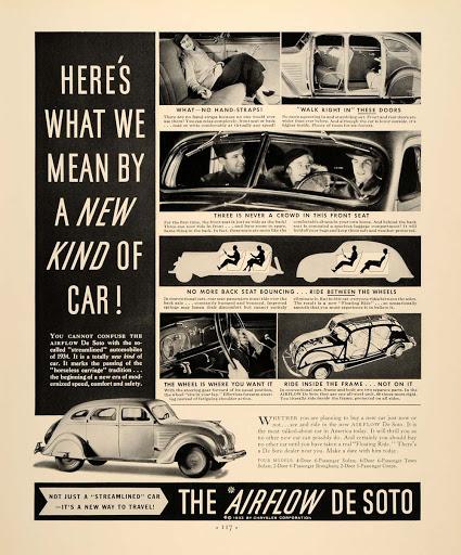 Печатная реклама автомобиля DeSoto Airflow со словом streamlined.