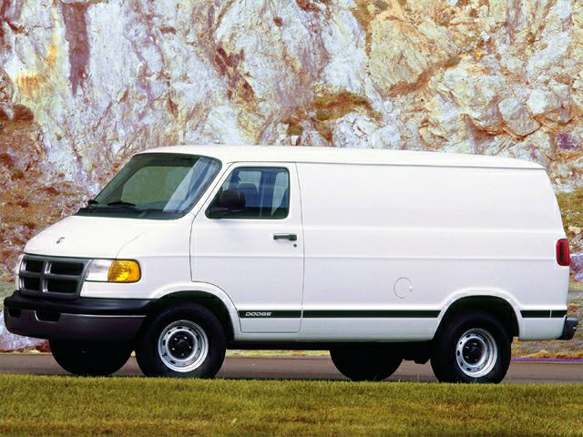 Stock white 2000 Dodge Ram Van B1500.