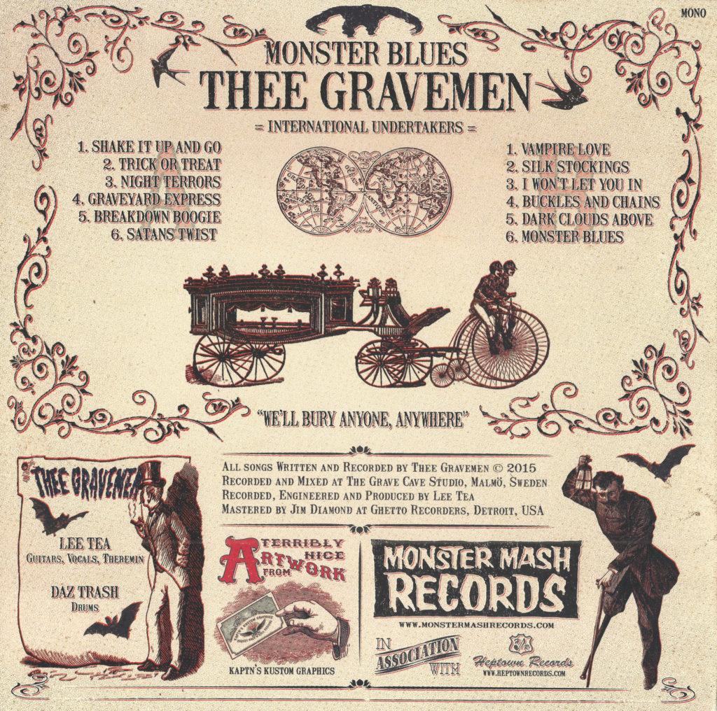 Thee Gravemen - Monster Blues (2015), back sleeve scan.