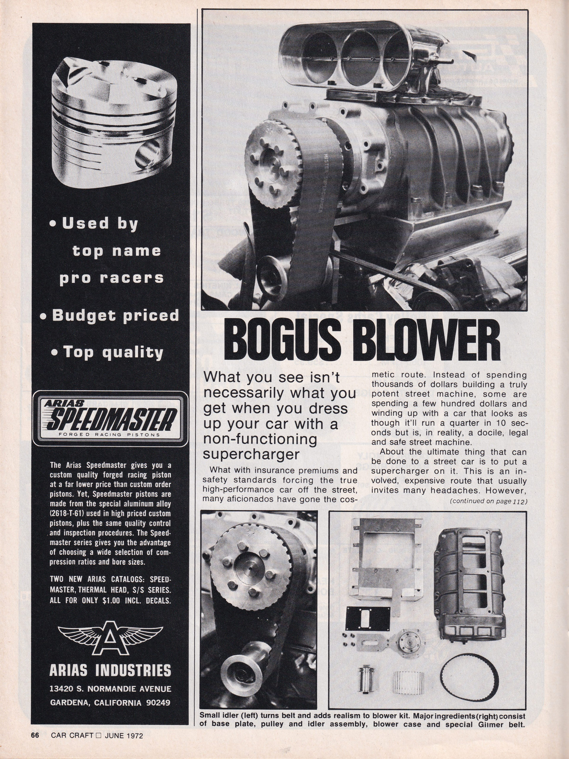 The Bogus Blower article from the June 1972 issue of Car Craft, page 1.