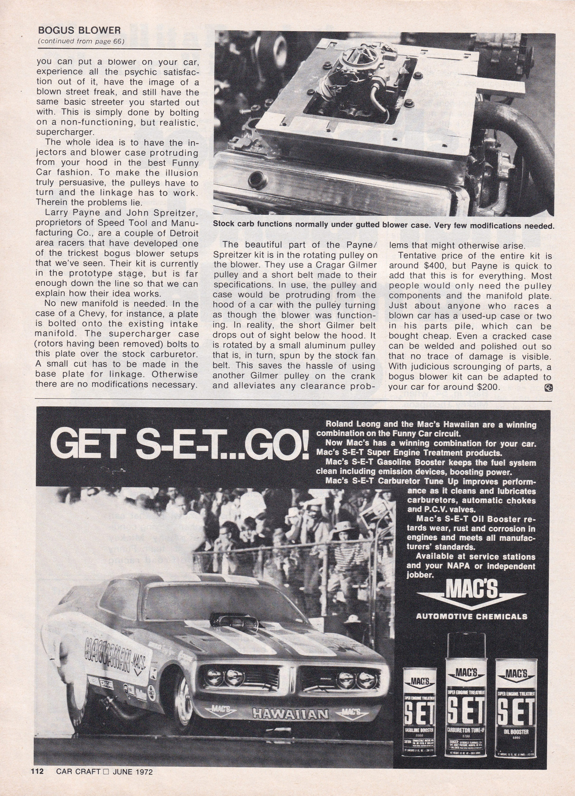 The Bogus Blower article from the June 1972 issue of Car Craft, page 2.