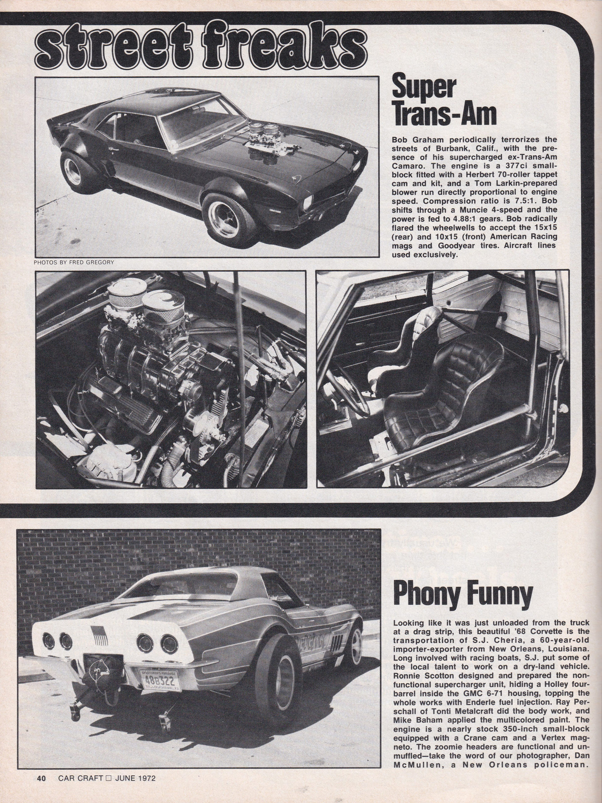 Street Freaks section from June 1972 issue of Car Craft, page 2.