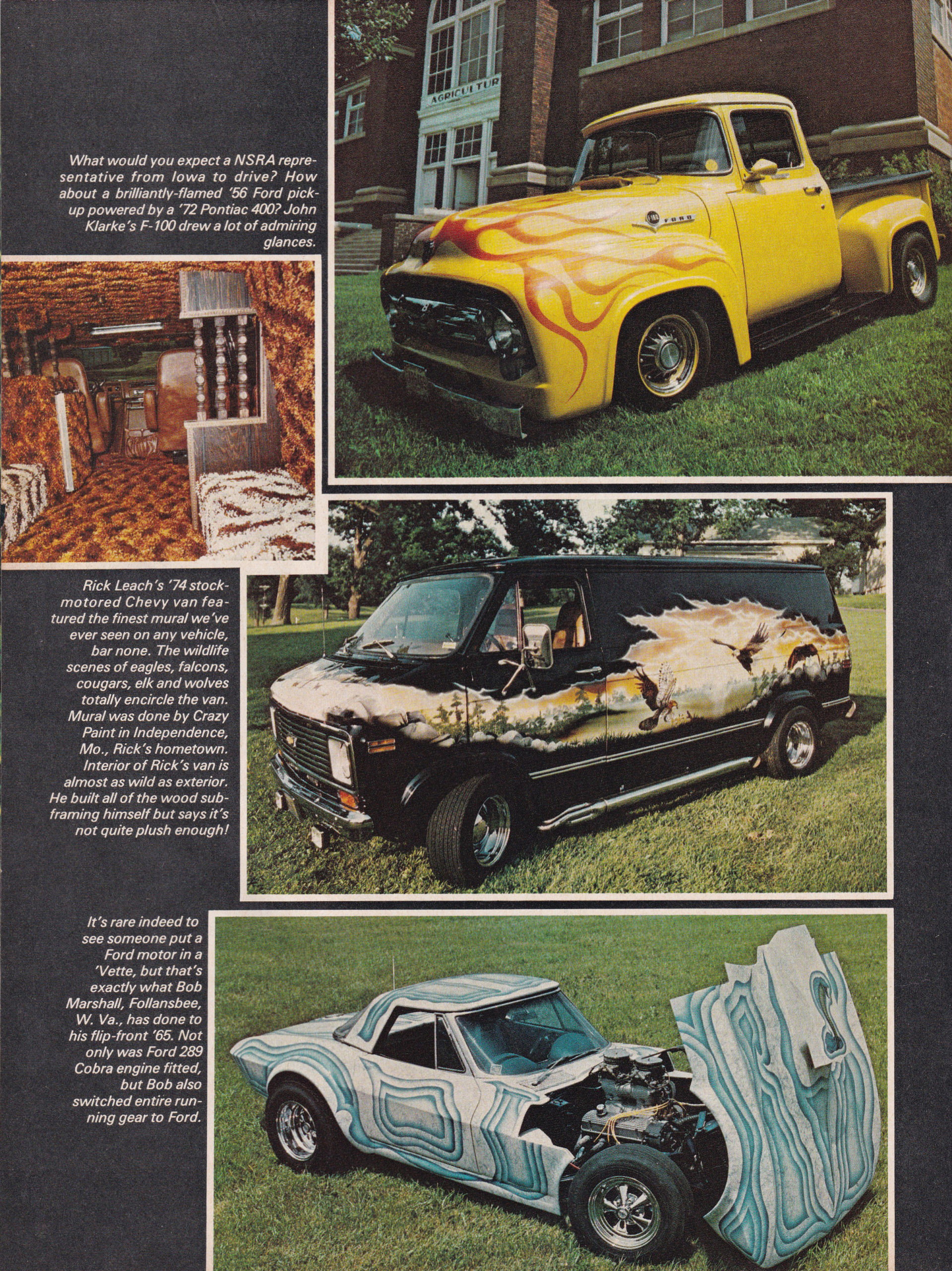 Street Machine / Van Nationals section from October 1975 issue of Popular Hot Rodding, page 1.