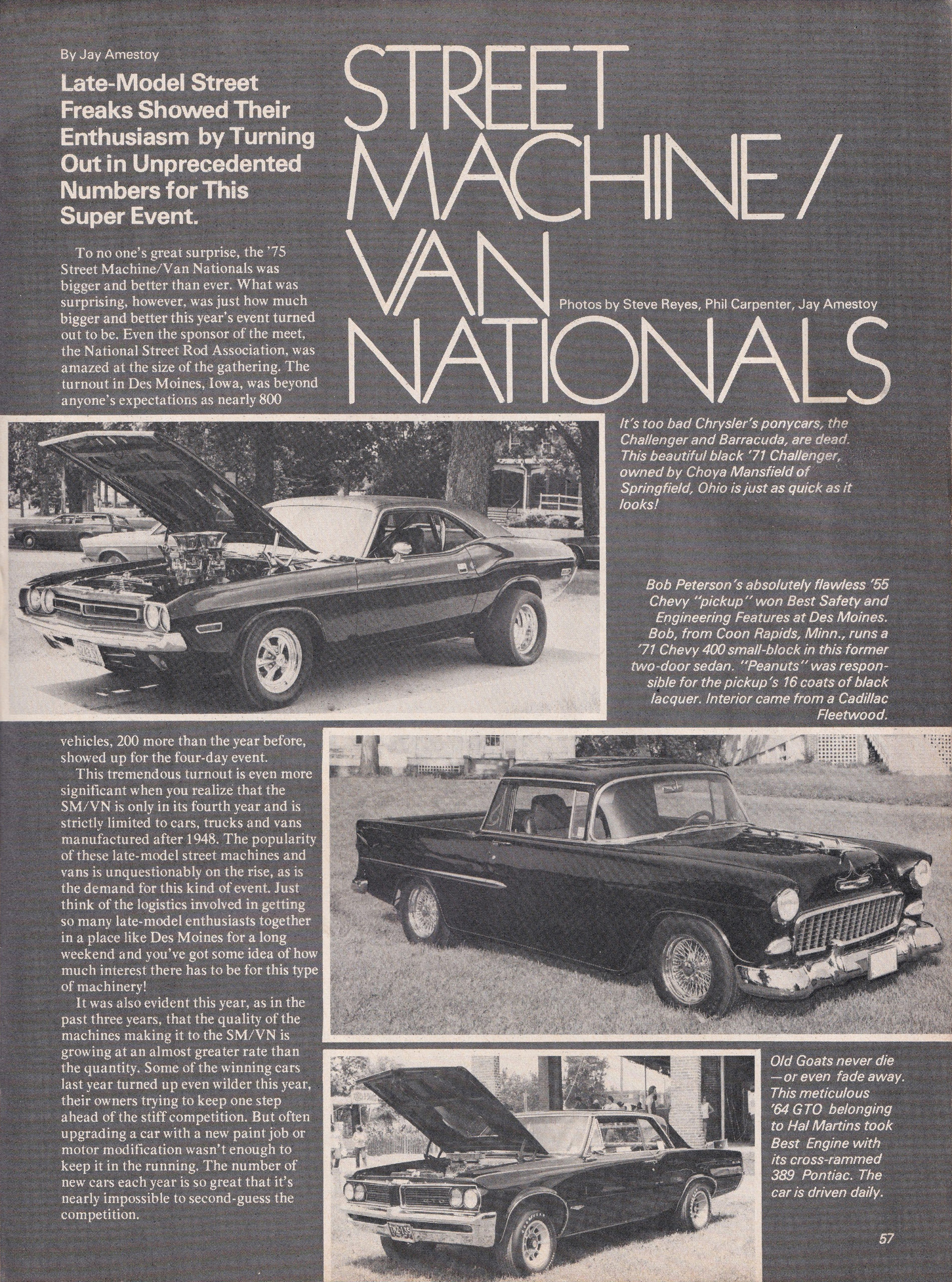 Street Machine / Van Nationals section from October 1975 issue of Popular Hot Rodding, page 2.