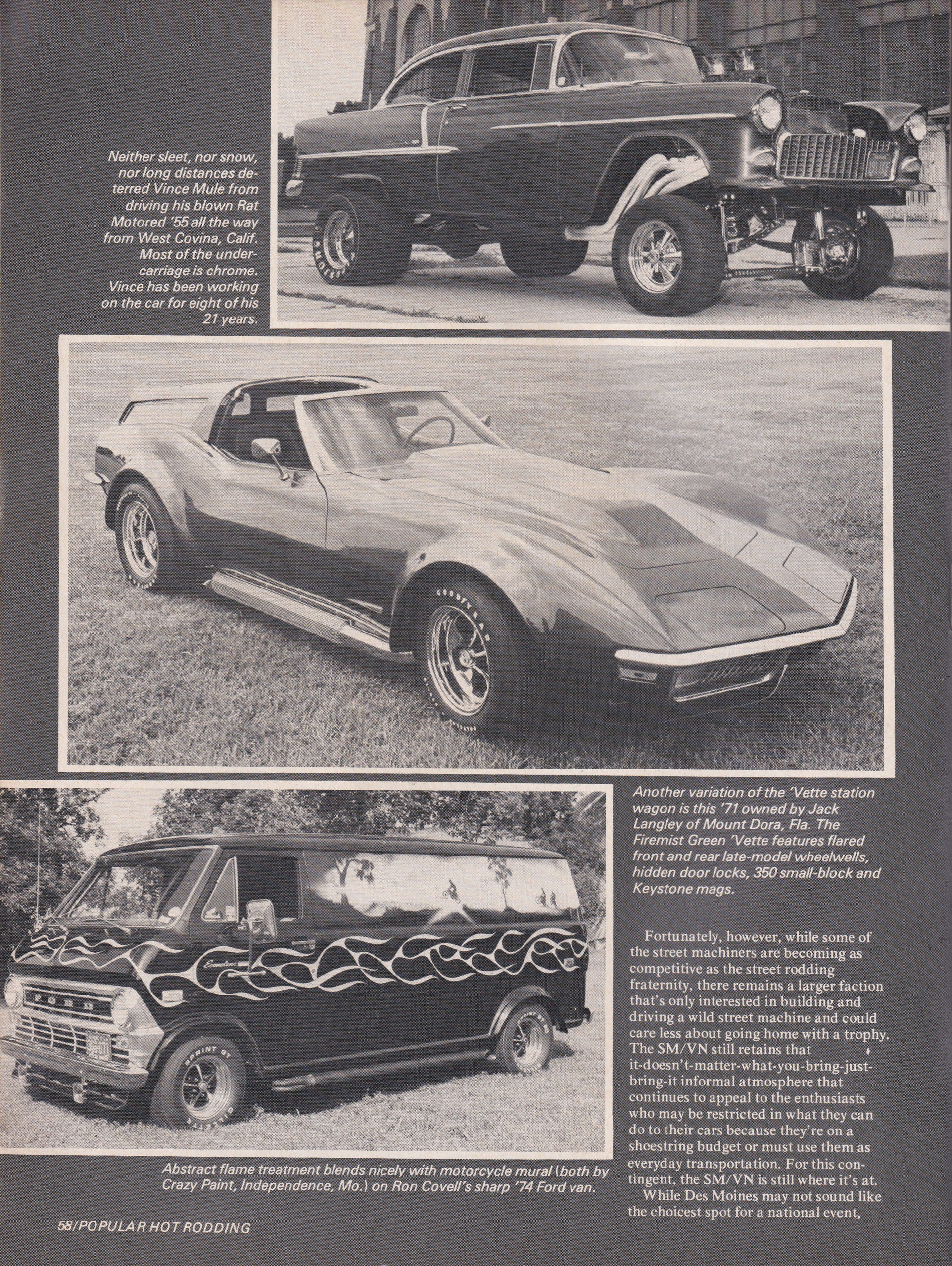 Street Machine / Van Nationals section from October 1975 issue of Popular Hot Rodding, page 3.