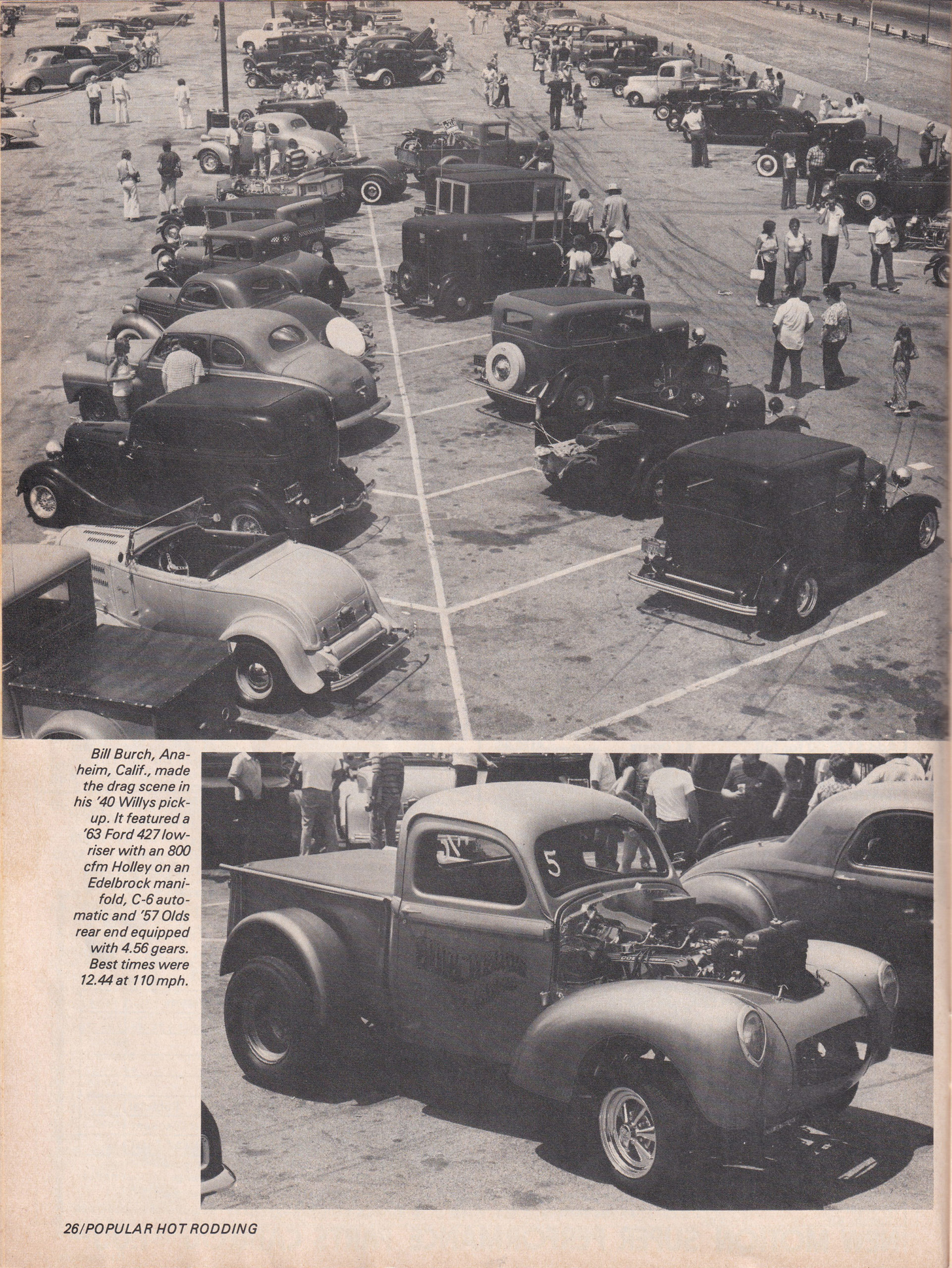 Street Rod Drag Race section from October 1975 issue of Popular Hot Rodding, page 1.