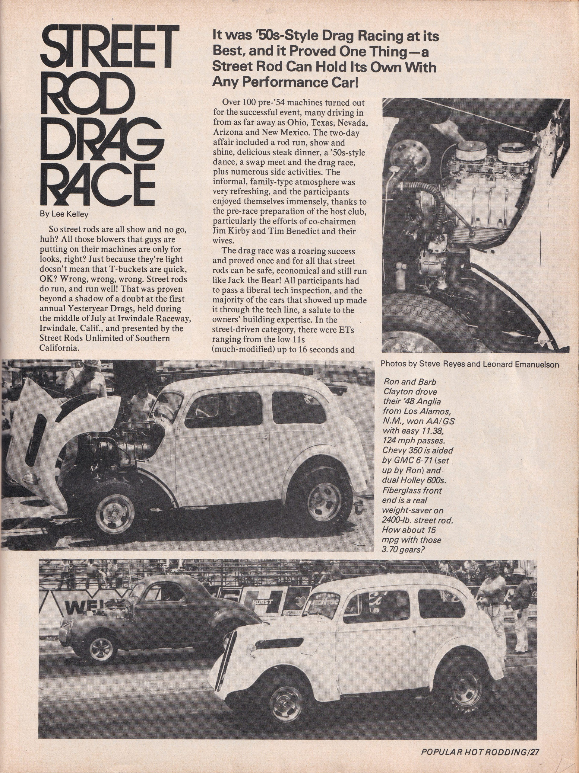 Street Rod Drag Race section from October 1975 issue of Popular Hot Rodding, page 2.