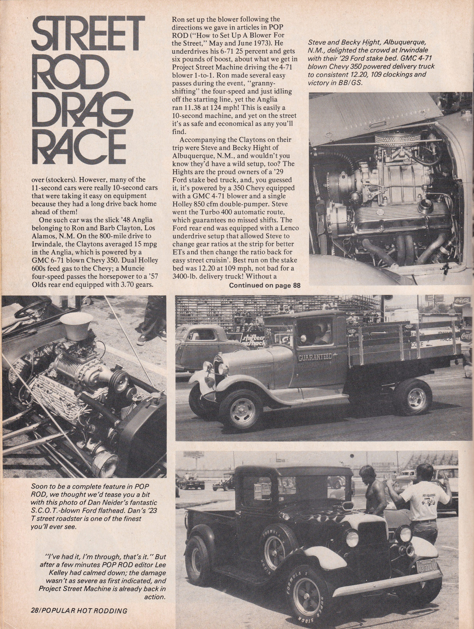 Street Rod Drag Race section from October 1975 issue of Popular Hot Rodding, page 3.