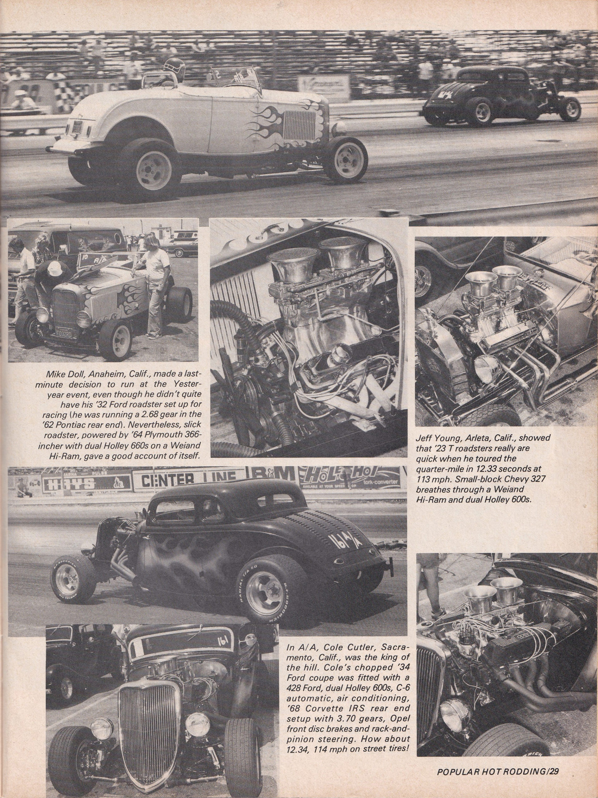 Street Rod Drag Race section from October 1975 issue of Popular Hot Rodding, page 4.
