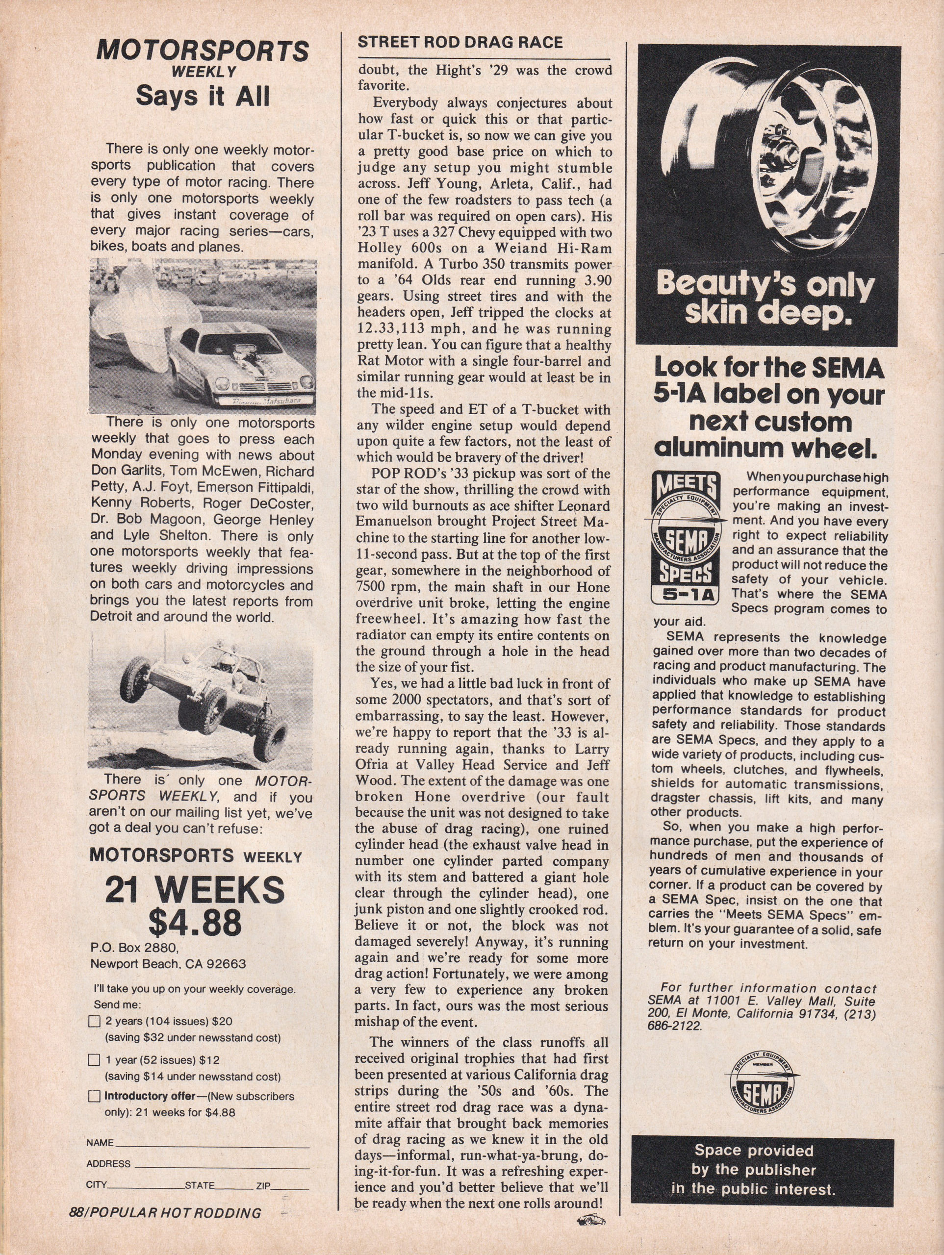 Street Rod Drag Race section from October 1975 issue of Popular Hot Rodding, page 5.