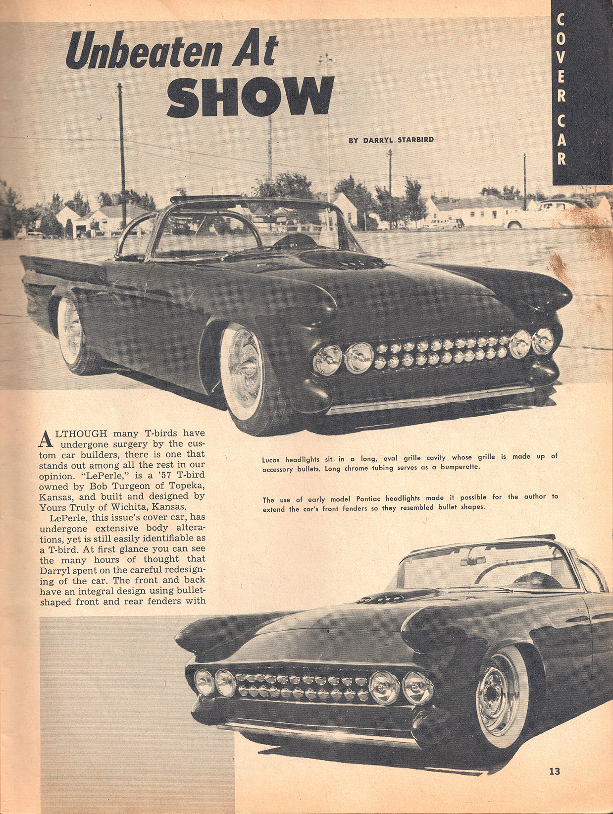 Page 1 of Le Perle article from August 1961 issue of Speed Mechanics magazine.