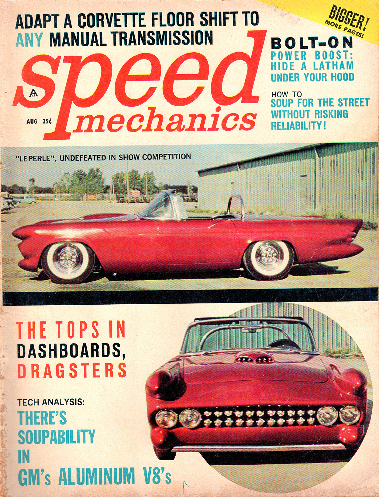 Cover of August 1961 issue of Speed Mechanics magazine, featuring Le Perle.